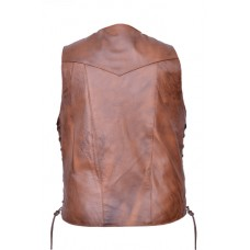 10 Pockets Brown Vest In Premium Buffalo Leather